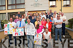 DEMANDS: Sammy Locke and a group of.protestors outside the Council chambers.in Tralee on Monday evening.