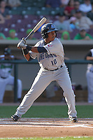 Lake County Captains second baseman Jose Ramirez #10 bats during a game against the Dayton Dragons at Fifth Third Field on June 25, 2012 in Dayton, Ohio. Lake County defeated Dayton 8-3. (Brace Hemmelgarn/Four Seam Images)
