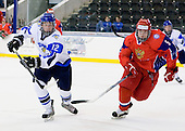 Erik Haula (Finland - 12), Kirill Yuriev (Russia - 5) - Russia defeated Finland 4-0 at the Urban Plains Center in Fargo, North Dakota, on Friday, April 17, 2009, in their semi-final match during the 2009 World Under 18 Championship.