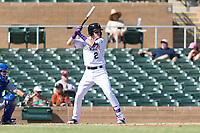 Salt River Rafters first baseman Tyler Nevin (2), of the Colorado Rockies organization, at bat during an Arizona Fall League game against the Surprise Saguaros at Salt River Fields at Talking Stick on October 23, 2018 in Scottsdale, Arizona. Salt River defeated Surprise 7-5 . (Zachary Lucy/Four Seam Images)