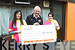 CHEQUE IT OUT!: Kilgarvan Darts Club presented a cheque for €1,700 to Fionnbar Walsh for the Donal Walsh LiveLife Foundation on Thursday last and pictured making the presentation are Maura Healy-Rae and Florence Hickey.