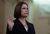 Dr. Fiona Hill, former Senior Director for Europe and Russia, National Security Council (NSC), is sworn-in to testify during the US House Permanent Select Committee on Intelligence public hearing as they investigate the impeachment of US President Donald J. Trump on Capitol Hill in Washington, DC on Thursday, November 21, 2019.<br /> Credit: Ron Sachs / CNP<br /> (RESTRICTION: NO New York or New Jersey Newspapers or newspapers within a 75 mile radius of New York City)