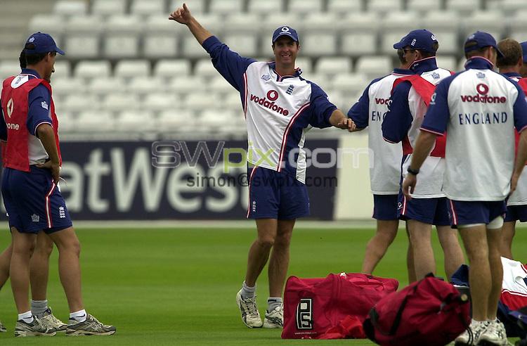 Pix: Matthew Lewis/SWpix.com. International Cricket. England Cricket Training, Trent Bridge. 12/08/03..COPYRIGHT PICTURE>>SIMON WILKINSON>>0870 092 0092>>..England's Michael Vaughan.