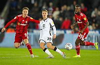 29th November 2019; Liberty Stadium, Swansea, Glamorgan, Wales; English Football League Championship, Swansea City versus Fulham; George Byers of Swansea City passes the ball while under pressure from. Stefan Johansen of Fulham  - Strictly Editorial Use Only. No use with unauthorized audio, video, data, fixture lists, club/league logos or 'live' services. Online in-match use limited to 120 images, no video emulation. No use in betting, games or single club/league/player publications