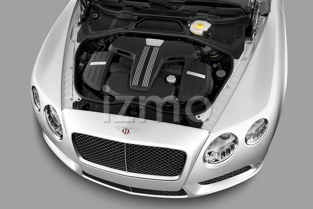 High angle engine detail of a 2013 - 2014 Bentley Continental GTC Convertible.