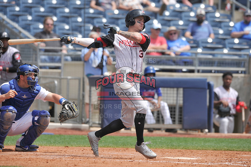Arkansas Travelers center fielder Ian Miller (3) swings during a game against the Tulsa Drillers at Oneok Field on May 22, 2017 in Tulsa, Oklahoma.  Arkansas won 5-4.  (Dennis Hubbard/Four Seam Images)