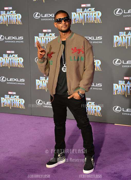 Usher at the world premiere for &quot;Black Panther&quot; at the Dolby Theatre, Hollywood, USA 29 Jan. 2018<br /> Picture: Paul Smith/Featureflash/SilverHub 0208 004 5359 sales@silverhubmedia.com