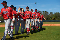 Illinois State Redbirds players, including Mitch Weis (40), Lucas Hall (36), Tyler Paulsen (43), and Nick Kowalczuk (23), celebrate after a game against the Northwestern Wildcats on March 6, 2016 at North Charlotte Regional Park in Port Charlotte, Florida.  Illinois State defeated Northwestern 10-4.  (Mike Janes/Four Seam Images)