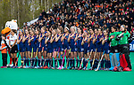 ROTTERDAM -  Line up  team USA  tijdens de Pro League hockeywedstrijd dames, Netherlands v USA (7-1)  .  COPYRIGHT  KOEN SUYK