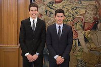 Marc Marquez (R) and Alex Marquez during Royal Audience with King Felipe VI of Spain at Zarzuela Palace in Madrid, Spain. November 20, 2014. (ALTERPHOTOS/Victor Blanco) /NortePhoto.com<br />