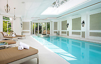 BNPS.co.uk (01202 558833)<br /> Pic: Savills/BNPS<br /> <br /> Swimming pool complex.<br /> <br /> Fairway to Heaven - Hills End has been described as 'a fabulous new masterpiece'. <br /> <br /> This breathtaking brand new mansion only a pitching wedge from one the most exclusive golf clubs in the country has emerged for sale for a whopping £22m.<br /> <br /> Hills End nestles within the prestigious Sunningdale estate in Surrey, home of the £4,000 a year Sunningdale Golf Club which dates back to 1900 and has hosted the Women's British Open and the Senior Open Championship.<br /> <br /> The newly-built property sits on a 1.75 acre plot  boasting six bedrooms, eight reception areas, a swimming pool complex with spa, sauna and yoga rooms along with a large cinema. and walk in wardrobes.<br /> <br /> The incredible Palladian style home is on the market with estate agents Savills who describe it as 'a fabulous new masterpiece'...that comes with a whopping £22 million price tag.