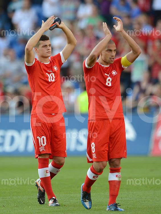 FUSSBALL INTERNATIONAL  Testspiel  26.05.2012  Schweiz - Deutschland  Granit Xhaka (li.) mit Gokhan INLER (Schweiz)