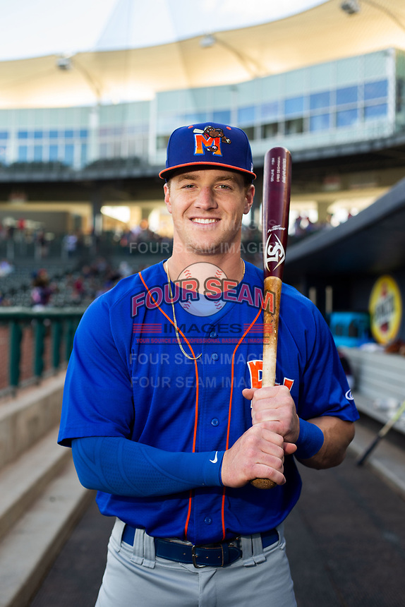 Midland RockHounds outfielder Greg Deichmann (18) poses for a photo on May 4, 2019, at Arvest Ballpark in Springdale, Arkansas. (Jason Ivester/Four Seam Images)