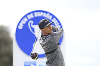 Thorbjorn Olesen (DEN) on the 11th tee during Round 3 of the Open de Espana 2018 at Centro Nacional de Golf on Saturday 14th April 2018.<br /> Picture:  Thos Caffrey / www.golffile.ie<br /> <br /> All photo usage must carry mandatory copyright credit (&copy; Golffile | Thos Caffrey)