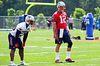 June 13, 2017: New England Patriots running back James White (28) and quarterback Tom Brady (12) wait to run a drill at the New England Patriots organized team activity held on the practice field at Gillette Stadium, in Foxborough, Massachusetts. Eric Canha/CSM