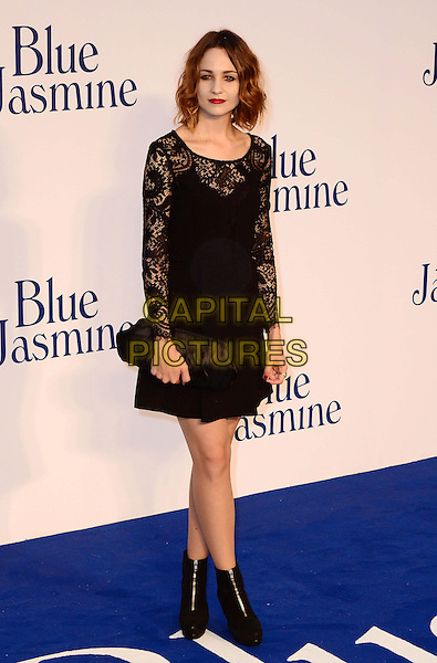 Tuppence Middleton<br /> The &quot;Blue Jasmine&quot; UK film premiere, Odeon West End cinema, Leicester Square, London, England.<br /> September 17th, 2013<br /> full length black dress lace clutch bag ankle boots <br /> CAP/BF<br /> &copy;Bob Fidgeon/Capital Pictures
