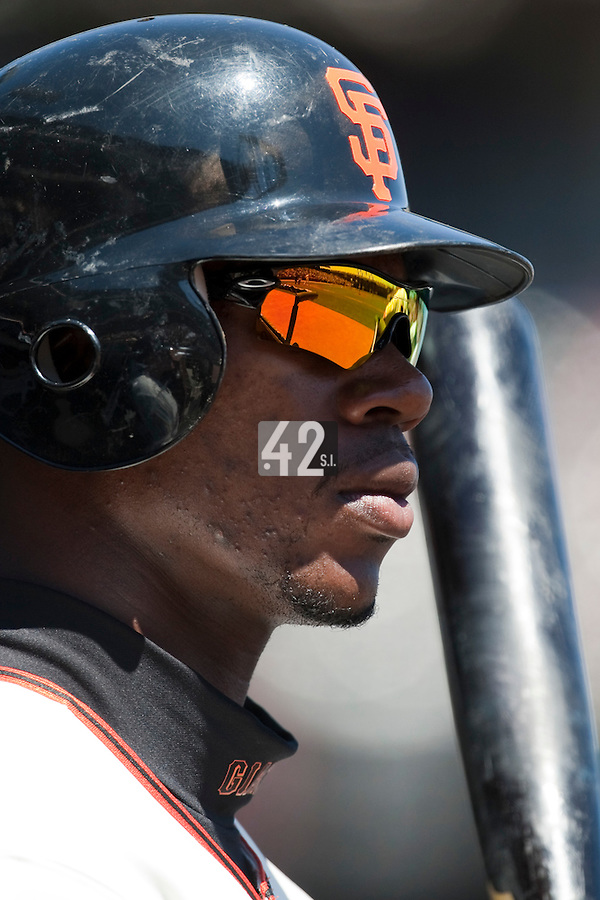 18 April 2009: San Francisco Giants' Fred Lewis is seen in the dugout during the San Francisco Giants' 2-0 loss to the Arizona Diamondbacks at AT&T Park in San Francisco, CA.