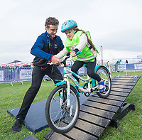 Picture by Allan McKenzie/SWpix.com - 24/09/2017 - Cycling - HSBC UK City Ride Liverpool - Albert Dock, Liverpool, England - Steven Burke helps riders through the Go-Ride course.