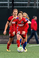 Allston, MA - Sunday, May 1, 2016:  Portland Thorns FC midfielder Lindsey Horan (7), Boston Breakers forward Brittany Ratcliffe (11) and Portland Thorns FC defender Meghan Klingenberg (25) in a match at Jordan Field, Harvard University.