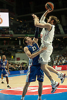 Real Madrid´s Andres Ncioni and Anadolu Efes´s Matt Janning during 2014-15 Euroleague Basketball match between Real Madrid and Anadolu Efes at Palacio de los Deportes stadium in Madrid, Spain. December 18, 2014. (ALTERPHOTOS/Luis Fernandez) /NortePhoto /NortePhoto.com