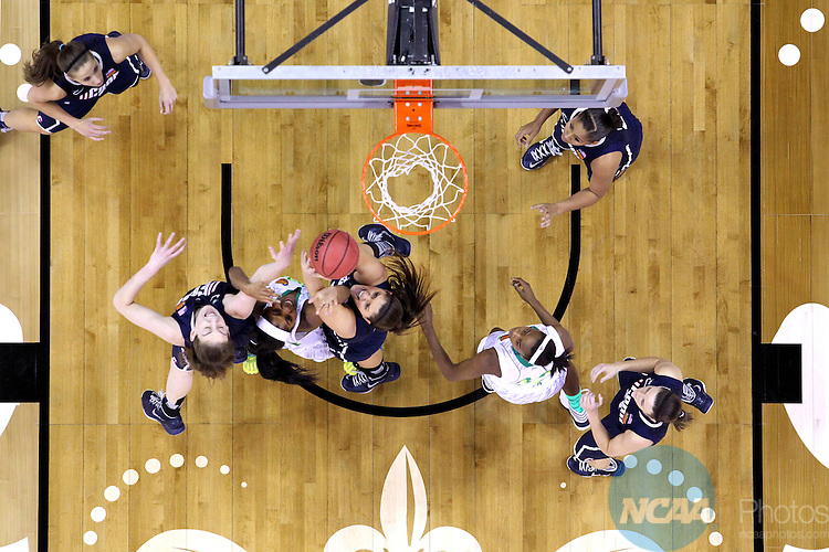07 APR 2013:  Stefanie Dolson (31) and Breanna Stewart (30) of the University of Connecticut battle Ariel Braker (44) of the University of Notre Dame for a rebound during the Division I Women's Basketball Championship in New Orleans, LA.  Jamie Schwaberow/NCAA Photos