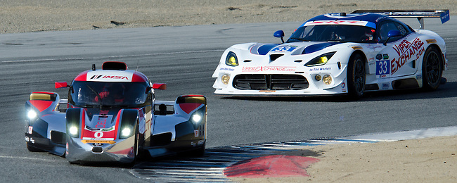 Monterey California, May 4, 2014, Laguna Seca Monterey Grand Prix, DeltaWing races through turn 2.
