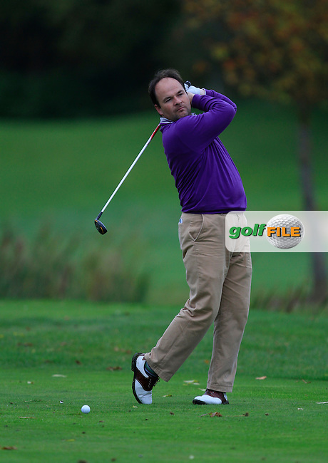 Padraig Dooley (Drive Golf Performance) on the 15th tee during Round 4 of The Cassidy Golf 103rd Irish PGA Championship in Roganstown Golf Club on Sunday 13th October 2013.<br /> Picture:  Thos Caffrey / www.golffile.ie