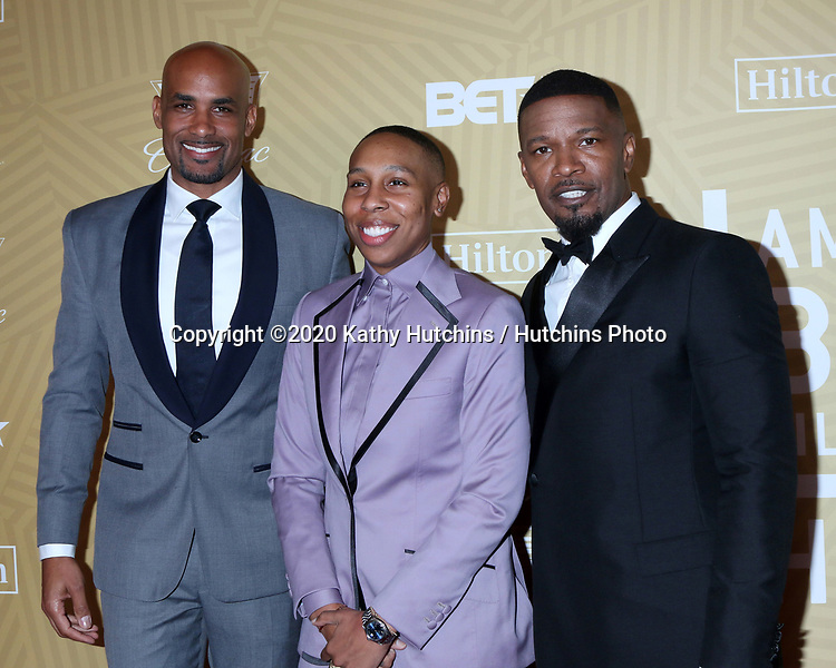 LOS ANGELES - FEB 23:  Boris Kodjoe, Lena Waithe, Jamie Foxx at the American Black Film Festival Honors Awards at the Beverly Hilton Hotel on February 23, 2020 in Beverly Hills, CA