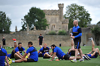 Bath Rugby High Performance Manager Allan Ryan looks on during the warm-up. Bath Rugby training session on August 4, 2015 at Farleigh House in Bath, England. Photo by: Patrick Khachfe / Onside Images