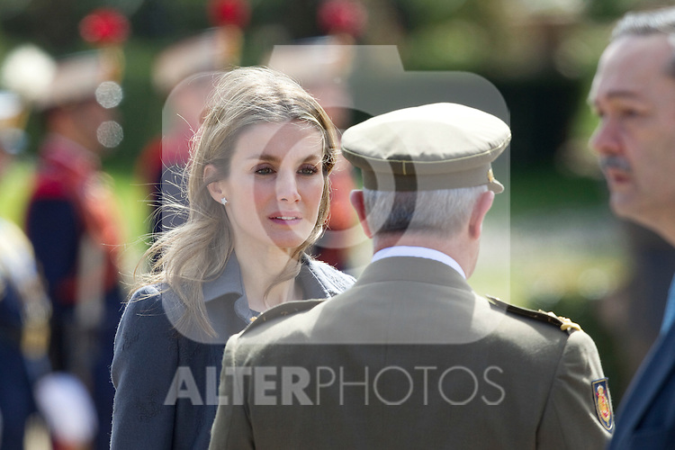 Crown Prince Felipe and Princess Letizia recieved Britain's Prince Carlos and his wife Camilla Parker Bowles at El Pardo Palace in Madrid, March 30, 2011...Photo: Cesar Cebolla/ ALFAQUI...