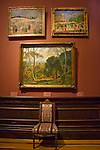 Chair and paintings, art exhibit, interior, Renwick Gallery, a branch of the Smithsonian American Art Museum, Washington DC, USA, (not released), editorial only.