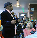 Rev. G. Modele Clarke, speaking at the Naming Ceremony Event, at the A.J. Williams-Myers African Roots Community Center, at 43 Gill Street, in Kingston, NY, on Saturday, February 18, 2017. Photo by Jim Peppler; Copyright Jim Peppler 2017