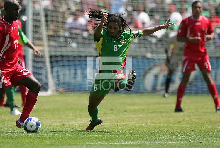 Stephane Auvray (8) tries to stop the pass of Felipe Baloy (23). Guadeloupe defeated Panama 2-1 during the First Round of the 2009 CONCACAF Gold Cup at Oakland Coliseum in Oakland, California on July 4, 2009.