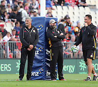Chiefs head coach Colin Cooper (L) during the round two Super Rugby match between the Crusaders and the Chiefs at AMI Stadium in Christchurch, New Zealand on Saturday, 24 February 2018. Photo: Martin Hunter/ lintottphoto.co.nz