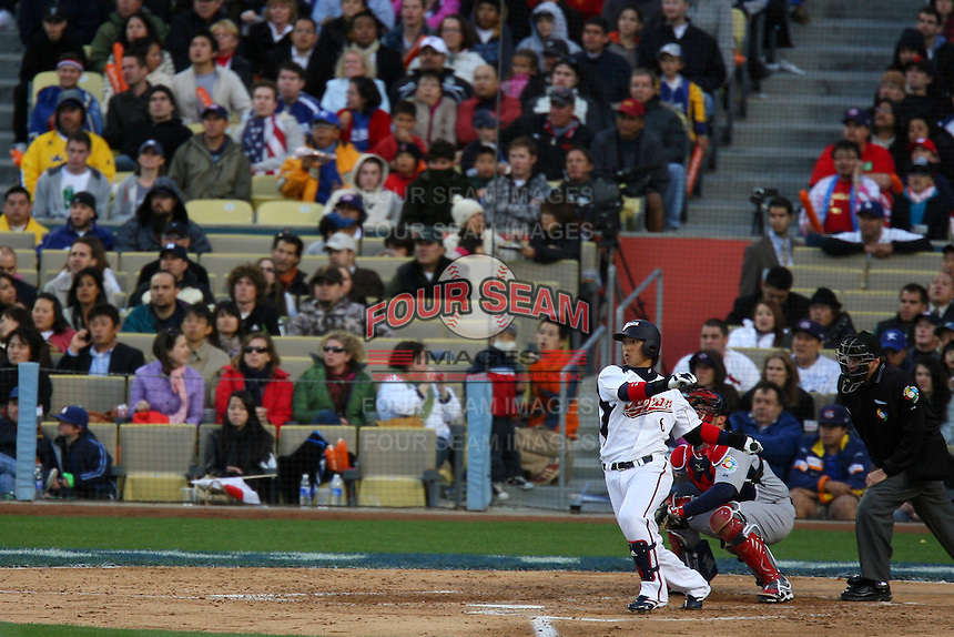Hiroyuki Nakajima of Japan during a game against the United States at the World Baseball Classic at Dodger Stadium on March 22, 2009 in Los Angeles, California. (Larry Goren/Four Seam Images)