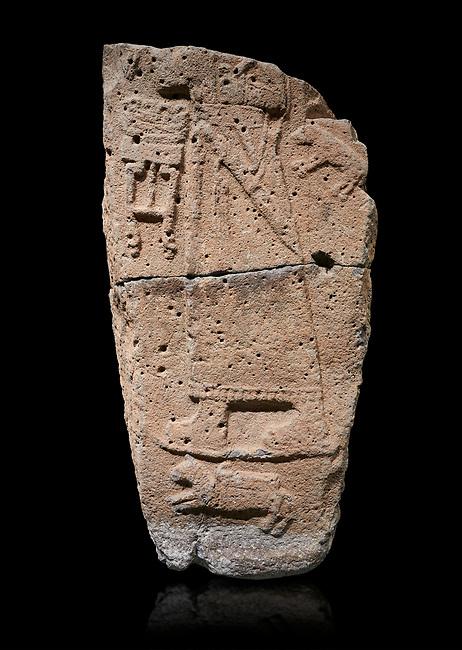 Hittite monumental relief sculpture fragment. Late Hittite Period - 900-700 BC. Adana Archaeology Museum, Turkey. Against a black background