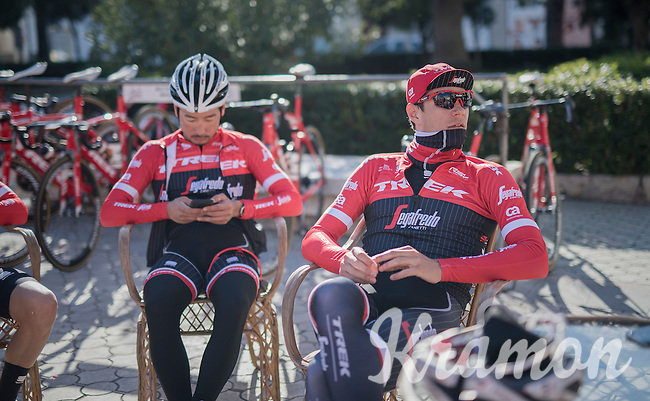 Jasper Stuyven (BEL/Trek-Segafredo) during a mid-ride coffee brake<br /> <br /> Team Trek-Segafredo Training Camp <br /> january 2017, Mallorca/Spain