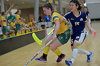 Australia&rsquo;s Alexandra Staib and Japan&rsquo;s Natsumi Yokota in action during the World Floorball Championships 2017 Qualification for Asia Oceania Region Final - Australia v Japan at ASB Sports Centre , Wellington, New Zealand on Sunday 5 February 2017.<br /> Photo by Masanori Udagawa<br /> www.photowellington.photoshelter.com.