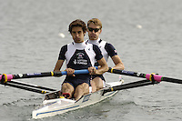 Munich, GERMANY, 2006, FISA, Rowing, World Cup, GBR, LM2-, bow Nick English and Dave Currie,  held on the Olympic Regatta Course, Munich, Thurs. 25.05.2006. © Peter Spurrier/Intersport-images.com,  / Mobile +44 [0] 7973 819 551 / email images@intersport-images.com.[Mandatory Credit, Peter Spurier/ Intersport Images] Rowing Course, Olympic Regatta Rowing Course, Munich, GERMANY