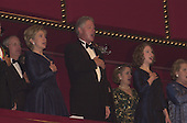 First lady Hillary Rodham Clinton, United States President Bill Clinton and Chelsea Clinton sing the National Anthem at the Kennedy Center Honors at the John F. Kennedy Center in Washington, D.C. on Sunday, December 3, 2000..Credit: Ron Sachs / Pool via CNP
