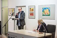 """Ausstellungseroeffnung: """"""""Karneval der Tiere"""" - Kinder- und Jugendbuchillustrationen von Lea Grundig aus ihrem Exil (1942-1948)"""", am Donnerstag den 28. Februar 2019 2018 in der Ladengalerie der Tageszeitung """"junge Welt"""".<br /> Eroeffnung: Michael Maede (jW).<br /> Es sprach: Dr. Maria Heiner, Kuratorin und Mitarbeiterin am Werkverzeichnis von Lea Grundig.<br /> 28.2.2019, Berlin<br /> Copyright: Christian-Ditsch.de<br /> [Inhaltsveraendernde Manipulation des Fotos nur nach ausdruecklicher Genehmigung des Fotografen. Vereinbarungen ueber Abtretung von Persoenlichkeitsrechten/Model Release der abgebildeten Person/Personen liegen nicht vor. NO MODEL RELEASE! Nur fuer Redaktionelle Zwecke. Don't publish without copyright Christian-Ditsch.de, Veroeffentlichung nur mit Fotografennennung, sowie gegen Honorar, MwSt. und Beleg. Konto: I N G - D i B a, IBAN DE58500105175400192269, BIC INGDDEFFXXX, Kontakt: post@christian-ditsch.de<br /> Bei der Bearbeitung der Dateiinformationen darf die Urheberkennzeichnung in den EXIF- und  IPTC-Daten nicht entfernt werden, diese sind in digitalen Medien nach §95c UrhG rechtlich geschuetzt. Der Urhebervermerk wird gemaess §13 UrhG verlangt.]"""