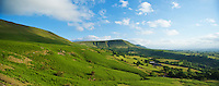 View over common and farm lands towards Twmpa, Hay Bluff, Brecon Beacons national park, Wales