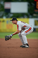 Aberdeen Ironbirds first baseman Andrew Daschbach (28) during a NY-Penn League game against the Staten Island Yankees on August 22, 2019 at Richmond County Bank Ballpark in Staten Island, New York.  Aberdeen defeated Staten Island 4-1 in a rain shortened game.  (Mike Janes/Four Seam Images)