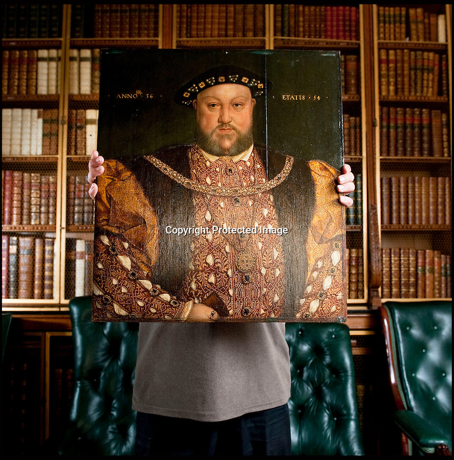 BNPS.co.uk (01202 558833)<br /> Pic: PhilYeomans/BNPS<br /> <br /> A painting of Henry VIII that has hung in a stately home for over 300 years has soared in value overnight after it was found to be the last portrait created during the King's lifetime.<br /> <br /> Most works of art of the Tudor King were produced after his death and only a handful of contemporary portraits of him exist.<br /> <br /> Up until now the painting owned by Longleat House in Wiltshire was thought to have been a good 'later' copy of the monarch.<br /> <br /> But a painstaking tree-ring dating study of the oak panels the picture is painted on has shown the wood dates to 1529 - when the King was alive and in rude health.