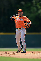 Baltimore Orioles Alejandro Juvier  (1) during a minor league spring training game against the Boston Red Sox on March 18, 2015 at the Buck O'Neil Complex in Sarasota, Florida.  (Mike Janes/Four Seam Images)