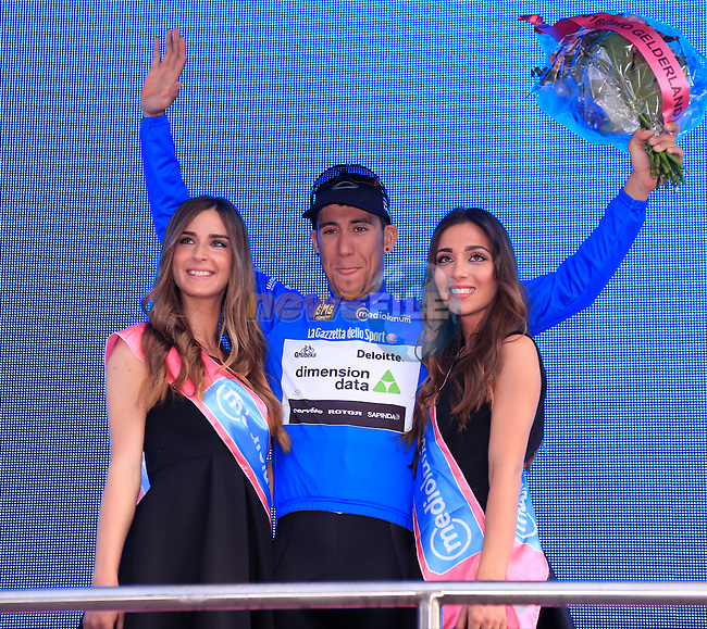 Omar Fraile (ESP) Dimension Data earns the mountains Maglia Azzurra at the end of Stage 2 of the 2016 Giro d'Italia running 190km from Arnhem to Nijmegen, The Nethrerlands. 7th May 2016.<br /> Picture: Eoin Clarke | Newsfile<br /> <br /> <br /> All photos usage must carry mandatory copyright credit (&copy; Newsfile | Eoin Clarke)