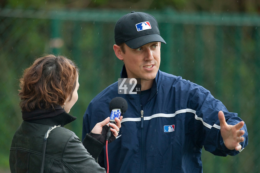 29 April 2009: Manager, Game Development (MLB) Jason Holowaty answers a journalist  during the first of six 2009 MLB European Academy Try-out Sessions throughout Europe, at Stade Pierre Rolland, in Rouen, France. Try-out sessions are run by members of the Major League Baseball Scouting Bureau with assistance from MLBI staff.