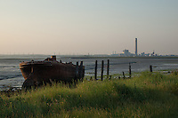 An Abandoned Rusting Boat at Nor Marshes, Medway, Kent