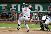 Northwest League All-Star John Riley (32) of the Salem-Keizer Volcanoes at bat against the Pioneer League All-Stars at the 2nd Annual Northwest League-Pioneer League All-Star Game at Lindquist Field on August 2, 2016 in Ogden, Utah. The Northwest League defeated the Pioneer League 11-5. (Stephen Smith/Four Seam Images)
