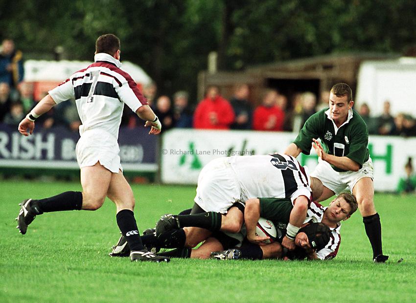 Photo. Richard Lane. .London Irish v Swansea. 17/10/98. Jake Boer is taken down by the Swansea defence.